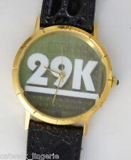 29K Unisex Fashion Watch Black Leather Strap Gold Tone Case
