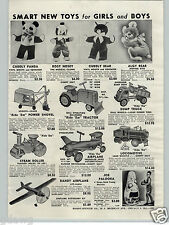 1955 PAPER AD Toy Keystone Ride'Em Tractor Locomotive Airplane Dump Truck Shovel