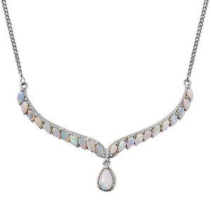 """Platinum Over 925 Sterling Silver Opal Necklace Gift Jewelry Size 18"""" Ct 2.3"""