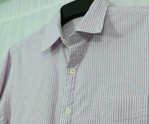 Men's J.CREW Sunwashed Oxford M 100% Cotton Vertical Purple Stripe Casual Shirt