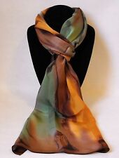 Hand Painted Silk Scarf Avocado Green Orange Oblong Hair Head Neck Ladies Gift