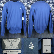 Volcom L/S Blue Sweater Size Large V-Neck Premium NWT Top Classic Style