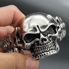 Huge Heavy 316L Stainless Steel Skull Skeleton Men's Biker Bangle Bracelet 3.4oz