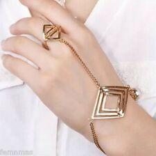 FemNmas Golden Celebrity Ring Chain Bracelet