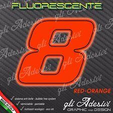 Adesivo Stickers NUMERO 8 moto auto cross gara Rosso FLUORESCENTE 15 cm