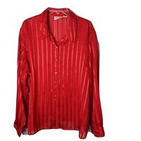 Joanna Vintage Button up Blouse Top ~ Sz 3X ~ Long Sleeve ~ Red ~ Sheer