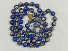VTG CHINESE EXPORT HAND KNOTTED LARGE 12mm BLUE CLOISONNE BEAD LONG 36  NECKLACE