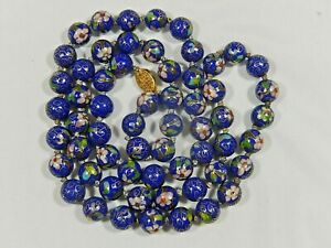 """VTG CHINESE EXPORT HAND KNOTTED LARGE 12mm BLUE CLOISONNE BEAD LONG 36"""" NECKLACE"""