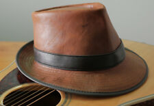 TAN KANGAROO LEATHER GODFATHER STYLE GANGSTER MUSO BAND LEADER HAT   FEDORA  HAT 1c06b099156c