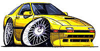 1986-1991 RX-7 Yellow Cartoon t-shirt turbo II 2 mazda rx7 rotary in sizes S-3XL