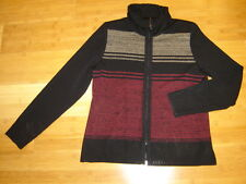 Exclusively Misook black w/ tan red stripe zip front cardigan jacket  sz S M