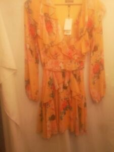 Lipsy Floral Yellow Long Sleeve cocktail Dress size 10