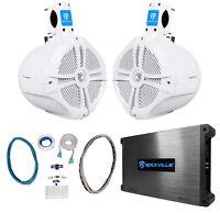 "(2) Rockville RWB80W 8"" White 600w Marine Wakeboard Tower Speakers+Amplifier+Kit"