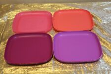 """New UNIQUE Set of 4 Beautiful Tupperware Luncheon plates 8"""""""