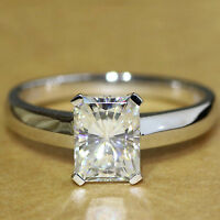 Beautiful 3Ct Radiant-Cut Solitaire Diamond Engagement Ring 18K White Gold FN