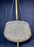 Vintage 1950s Baby Blue Beaded Purse Iridescent Sequins Crystals Evening Bag HK