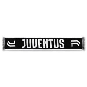 Juventus Sciarpa Unisex Jacquard Nera Scritta e Doppio Logo Bianco