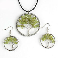 Holiday Gift Tree of Life Genuine Green Peridot Silver Necklace Pendant Earrings