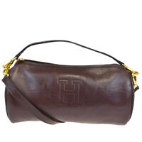 Authentic HIROFU 2Way Shoulder Hand Bag Leather Brown Made In Italy 09MB311