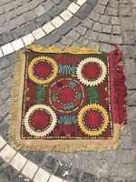 Antique Handmade Textile, Embroidery Silk Cover, Uzbek ethnic tribal table Cover