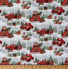 Cotton Red Trucks Home For Christmas Tree Farm Fabric Print by the Yard D400.32