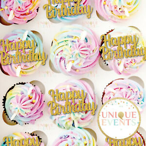 Happy Birthday cupcake toppers glitter cake party decor PACK OF 6 Cupcake Topper