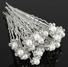 Lot de 5 épingles à chignons petite perle et strass blanc ,bijou cheveux mariage