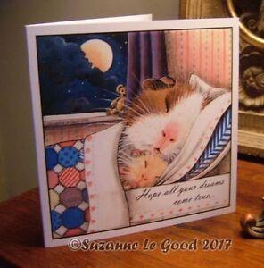 Guinea Pig cavy painting art Birthday card cute original design Suzanne Le Good