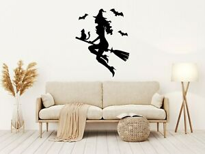 Halloween WITCH ON A BROOMSTICK Vinyl Decal Sticker Window Wall Decoration M