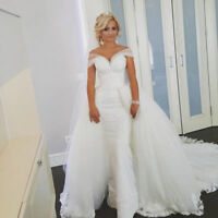Ladies white/ivory wedding dress Applique Lace Bridal Gowns Custom Size