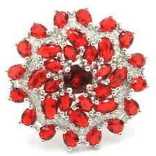Elegant Red Blood Ruby White CZ Woman's Party Silver Ring 9.0