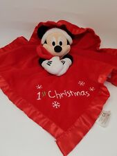 GRAND DOUDOU ROUGE PLAT MICKEY 1ST CHRISTMAS FLOCON DISNEY STORE COUVERTURE NEUF