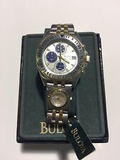 NEW Bulova Men's Marine Star Two Tone Stainless Steel Chronograph Watch VINTAGE