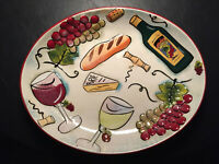 """Clay Art """"Wine & Dine"""" 17.5"""" Oval Serving Platter Grapes Cheese Bread ~ RARE"""