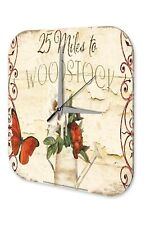 Wall Clock Flora Floral Decoration  Nostalgia watering flowers butterfly Woodsto