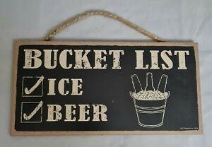 "Bucket List Ice Beer Home Man Cave Drinking Bar Sign Wall Art Decor 5""x10"""