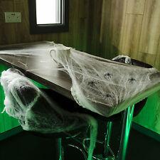 69g Halloween Gothic WHITE Stretchable Spider Web Cobweb Decoration & 4 Spiders