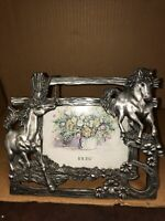 "Pewter Horses Picture Frame Holds 5"" X 3 1/2""Raised 3D Effect"