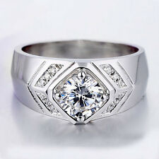 Quality 1ct Round Lab Created Diamond .925 Sterling Silver Ring Size 11 for Men
