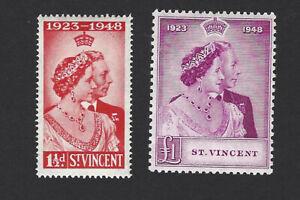 ST. VINCENT 1948 GEORGE VI ROYAL SILVER WEDDING 2 STAMPS, SG.162-163, £28+, MNH