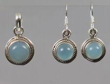 Schmuckset Chalcedon Anhänger und Ohrringe 925 Silberanhänger blau