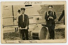 Men with Drums  Vintage Photo Postcard 1913 music