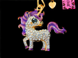 Betsey Johnson Purple Crystal Unicorn Horse Animal Pendant Necklace Chain