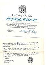 1970 Jamaica 6 Coin 2 Piece C.O.A. And Document Set~No Coins~Free Shipping