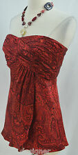 Banana Republic red geo silk Top strapless shirt blouse sexy pleated bust 4 NEW