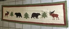 """90"""" inch quilted stitched design table runner cabin lodge rustic moose bear tree"""