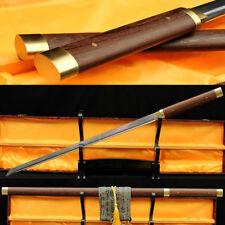 Japanese Ninja Sword Damascus Folded Steel Sharp Blade HuaLee Wood Shirasaya
