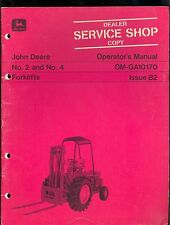 John Deere Operator`S Manual For Jd No. 2 & 4 Forklifts