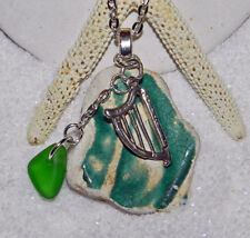 LOVELY SEA/BEACH POTTERY NECKLACE! SURF TUMBLED! ENGLAND! GREEN! STERLING HARP