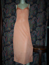 Vintage Olga Orange Nylon Formal length Empire Slip Nighty Lingerie 32